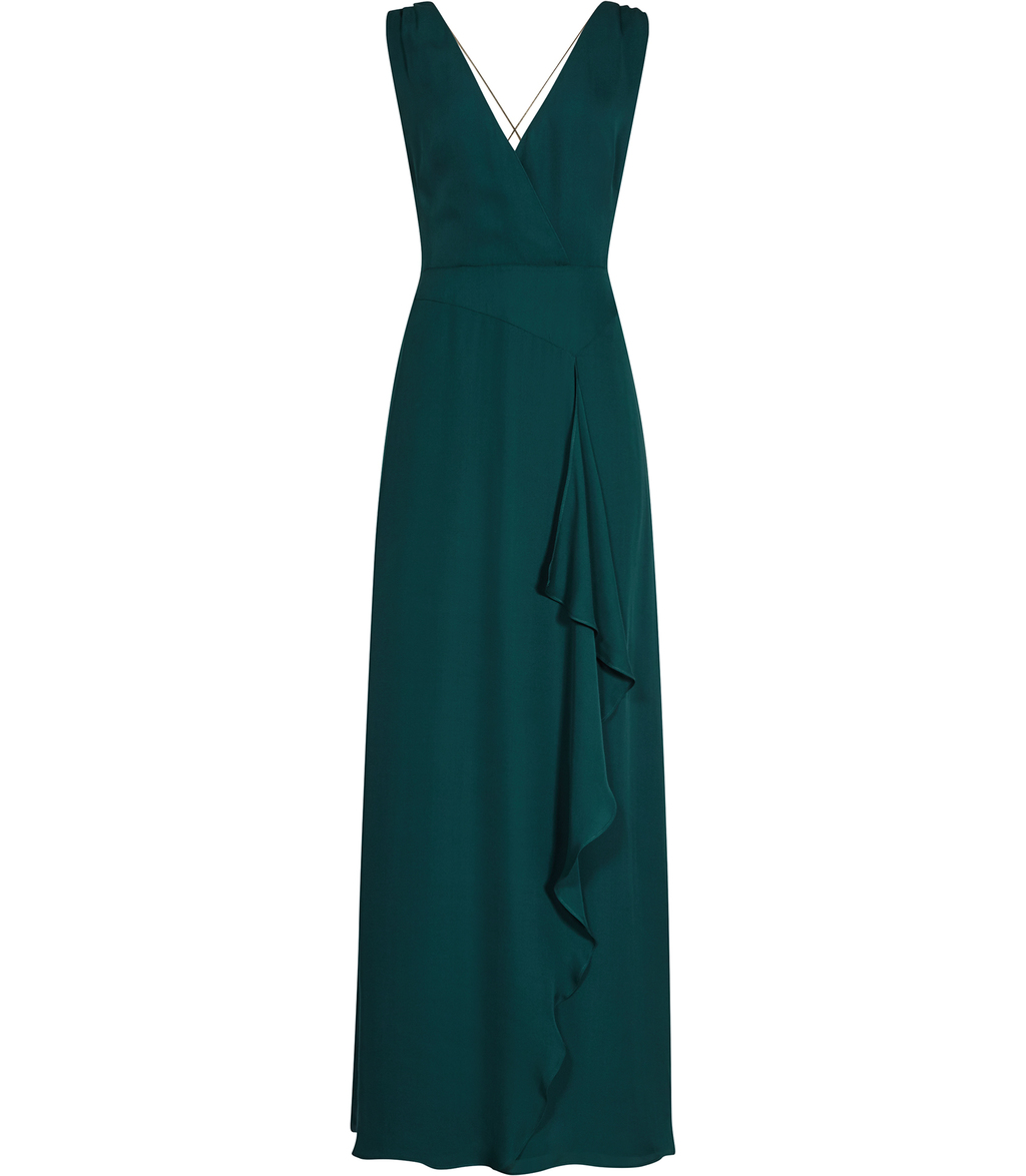 Arquette Womens Chain Detail Maxi Dress In Blue - neckline: v-neck; pattern: plain; sleeve style: sleeveless; style: maxi dress; predominant colour: dark green; occasions: evening; length: floor length; fit: body skimming; fibres: silk - 100%; sleeve length: sleeveless; pattern type: fabric; texture group: other - light to midweight; season: s/s 2016; wardrobe: event
