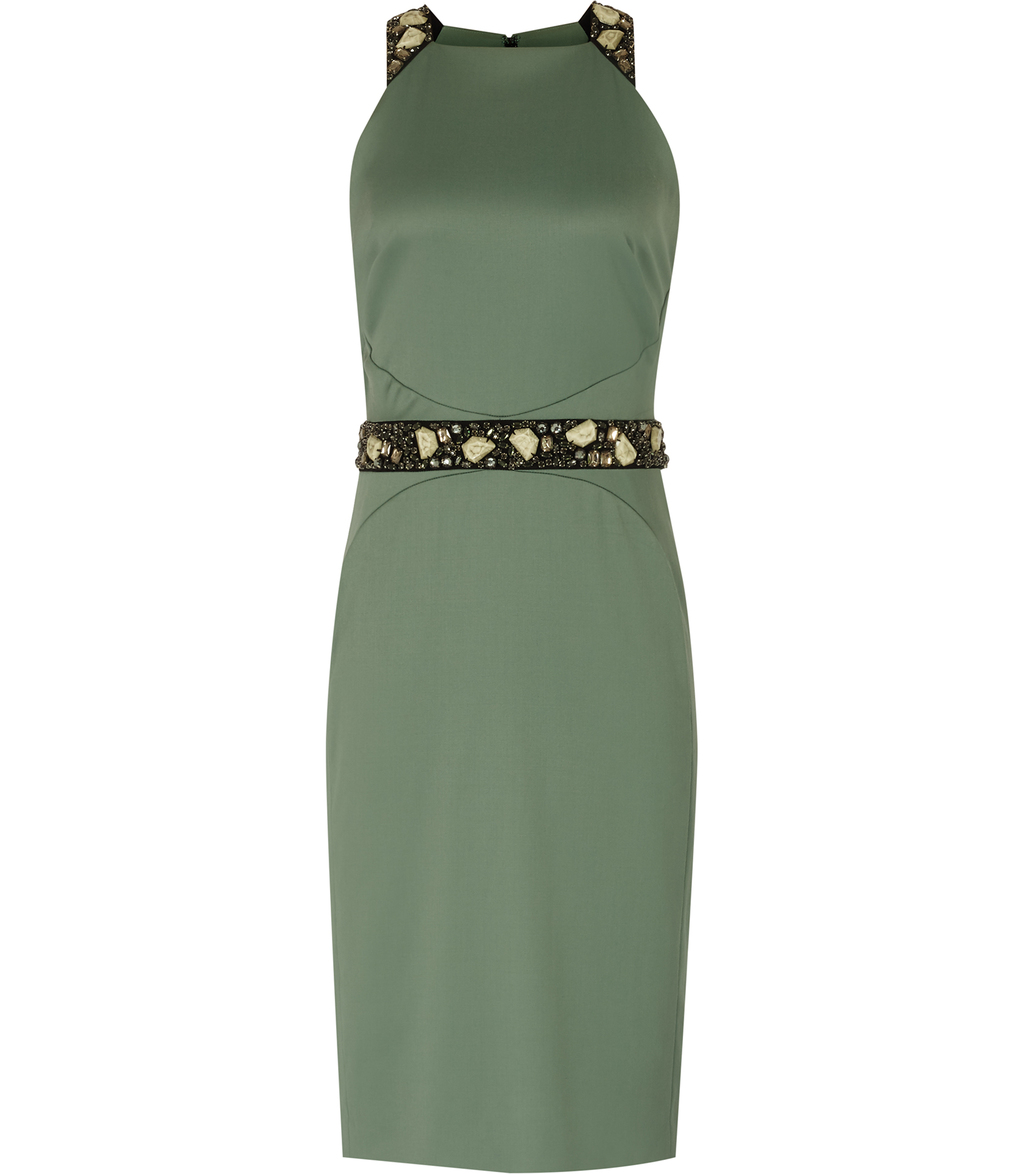 Bexley Womens Embellished Dress In Green - style: shift; pattern: plain; sleeve style: sleeveless; waist detail: belted waist/tie at waist/drawstring; predominant colour: dark green; occasions: evening; length: on the knee; fit: body skimming; fibres: polyester/polyamide - stretch; neckline: crew; sleeve length: sleeveless; pattern type: fabric; texture group: jersey - stretchy/drapey; season: s/s 2016; wardrobe: event