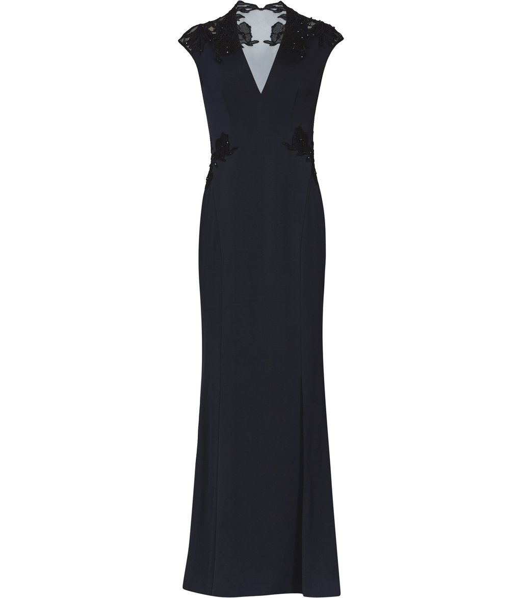 Jessica Maxi Womens Lace Detail Maxi Dress In Black - neckline: v-neck; sleeve style: sleeveless; style: maxi dress; predominant colour: navy; length: floor length; fit: body skimming; fibres: polyester/polyamide - 100%; occasions: occasion; sleeve length: sleeveless; pattern type: fabric; pattern: patterned/print; texture group: other - light to midweight; embellishment: lace; season: s/s 2016; wardrobe: event; embellishment location: shoulder, waist