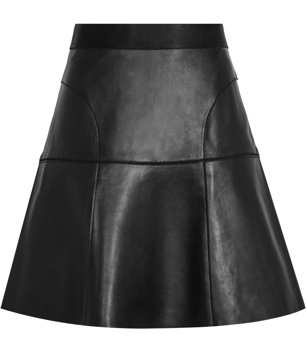 Chiya Womens Leather A Line Skirt In Black - length: mid thigh; pattern: plain; fit: loose/voluminous; waist: mid/regular rise; predominant colour: black; occasions: evening; style: a-line; fibres: leather - 100%; texture group: leather; pattern type: fabric; season: s/s 2016; wardrobe: event