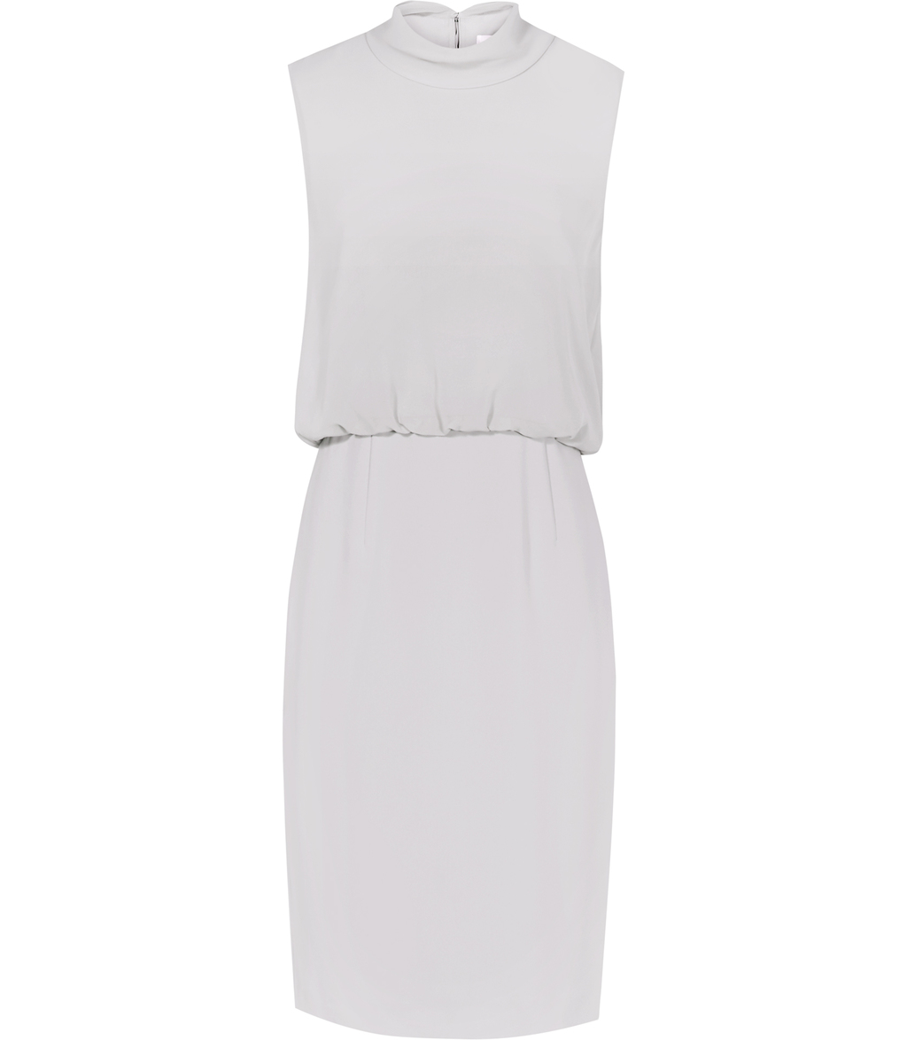 Angela Womens High Neck Dress In Grey - style: shift; pattern: plain; sleeve style: sleeveless; neckline: high neck; predominant colour: light grey; occasions: evening; length: on the knee; fit: body skimming; fibres: polyester/polyamide - 100%; sleeve length: sleeveless; pattern type: fabric; texture group: other - light to midweight; season: s/s 2016; wardrobe: event