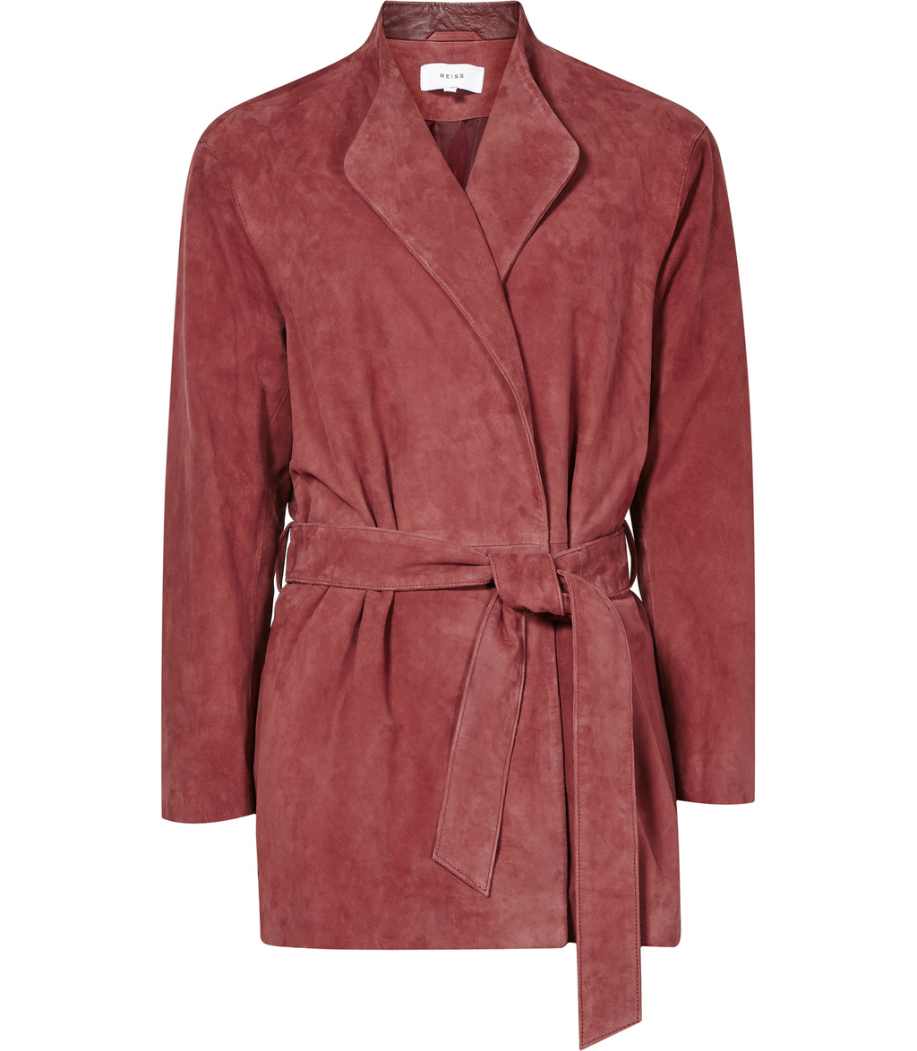 Willow Womens Suede Wrap Jacket In Brown - pattern: plain; style: belted jacket; fit: slim fit; collar: standard lapel/rever collar; predominant colour: chocolate brown; occasions: casual; length: standard; fibres: leather - 100%; waist detail: belted waist/tie at waist/drawstring; sleeve length: long sleeve; sleeve style: standard; collar break: medium; pattern type: fabric; texture group: suede; season: s/s 2016; wardrobe: basic