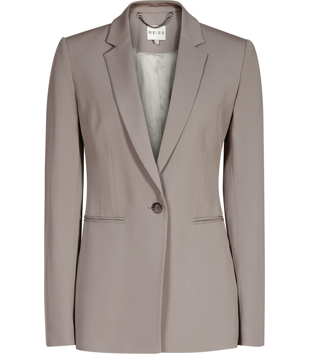 Karmine Jacket Womens Fluid Blazer In Brown - pattern: plain; style: single breasted blazer; collar: standard lapel/rever collar; predominant colour: light grey; occasions: work; length: standard; fit: tailored/fitted; fibres: viscose/rayon - stretch; sleeve length: long sleeve; sleeve style: standard; collar break: medium; pattern type: fabric; texture group: other - light to midweight; season: s/s 2016; wardrobe: investment