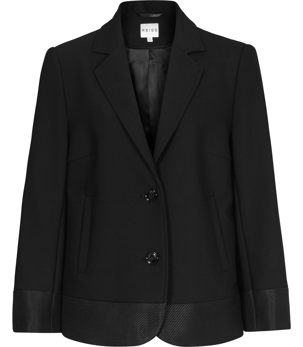 Dennie Womens Contrast Panel Blazer In Black - pattern: plain; style: single breasted blazer; collar: standard lapel/rever collar; predominant colour: black; occasions: evening, work; length: standard; fit: tailored/fitted; fibres: polyester/polyamide - stretch; waist detail: fitted waist; sleeve length: long sleeve; sleeve style: standard; collar break: medium; pattern type: fabric; texture group: woven light midweight; season: s/s 2016; wardrobe: investment