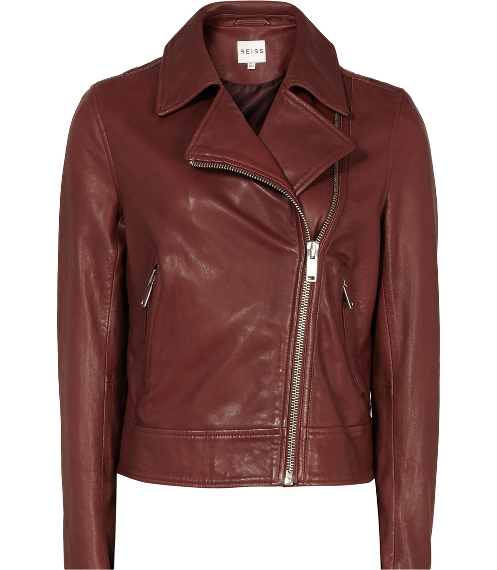 Ocean Womens Leather Biker Jacket In Brown - pattern: plain; style: biker; collar: asymmetric biker; fit: slim fit; predominant colour: chocolate brown; occasions: casual; length: standard; fibres: leather - 100%; sleeve length: long sleeve; sleeve style: standard; texture group: leather; collar break: medium; pattern type: fabric; season: s/s 2016; wardrobe: basic