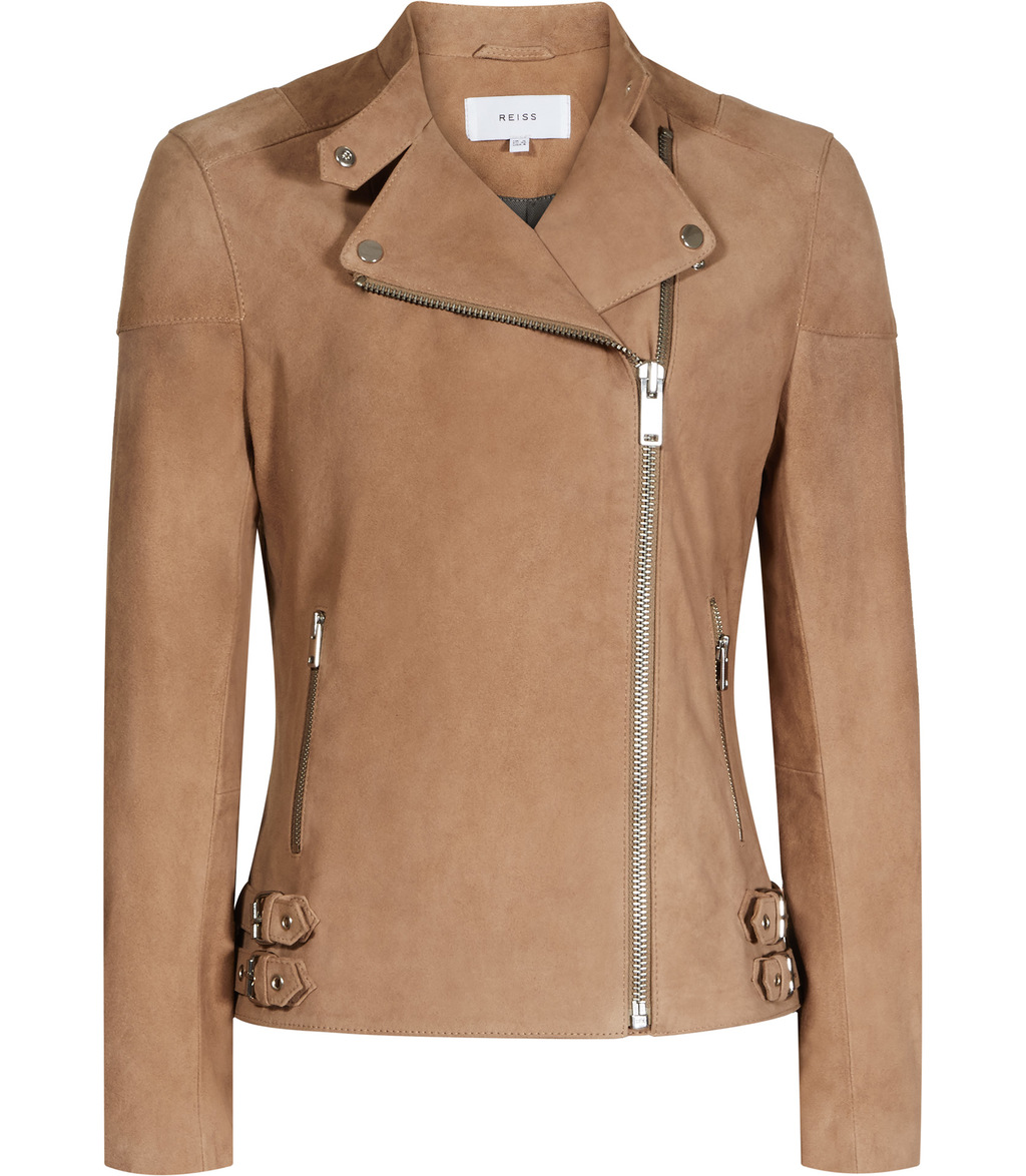 Garance Womens Suede Biker Jacket In Red - pattern: plain; style: biker; collar: asymmetric biker; fit: slim fit; predominant colour: camel; occasions: casual; length: standard; fibres: leather - 100%; sleeve length: long sleeve; sleeve style: standard; collar break: medium; pattern type: fabric; texture group: suede; season: s/s 2016; wardrobe: basic