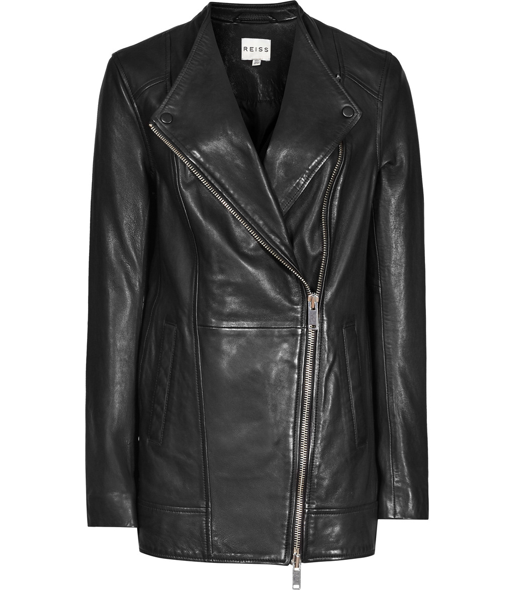 Cass Womens Longline Leather Jacket In Black - pattern: plain; style: biker; collar: asymmetric biker; length: below the bottom; fit: slim fit; predominant colour: black; occasions: casual; fibres: leather - 100%; sleeve length: long sleeve; sleeve style: standard; texture group: leather; collar break: medium; pattern type: fabric; season: s/s 2016; wardrobe: basic