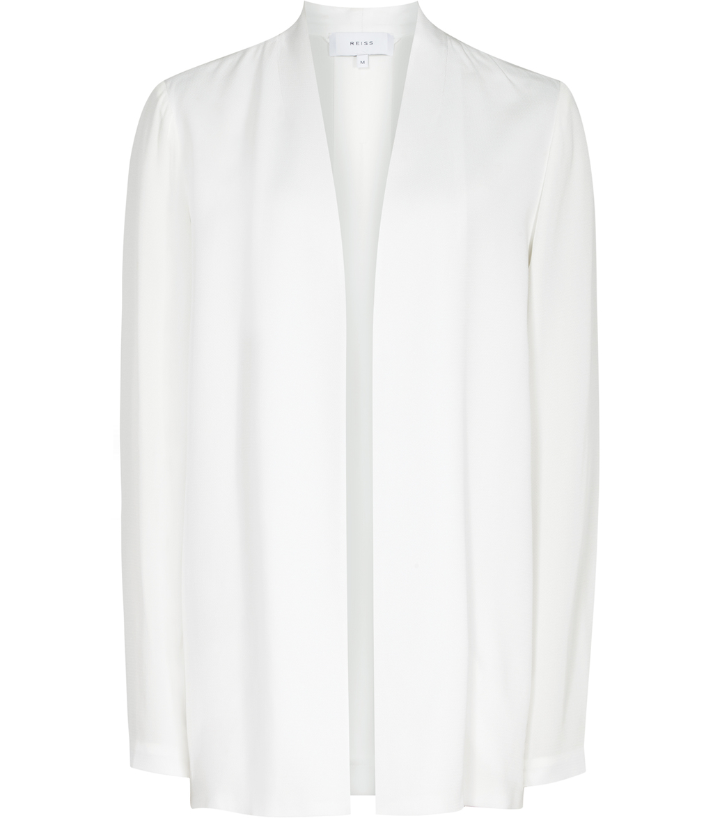 Baye Womens Open Front Jacket In White - pattern: plain; style: single breasted blazer; collar: round collar/collarless; length: below the bottom; fit: slim fit; predominant colour: white; occasions: casual; fibres: viscose/rayon - 100%; sleeve length: long sleeve; sleeve style: standard; collar break: low/open; pattern type: fabric; texture group: woven light midweight; season: s/s 2016; wardrobe: basic