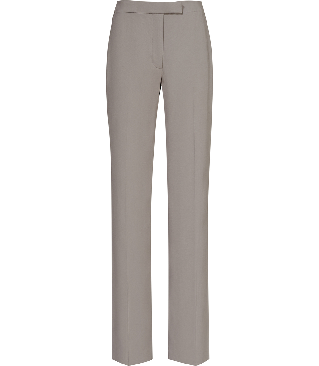 Karmine Trouser Womens Wide Leg Trousers In Brown - length: standard; pattern: plain; waist: mid/regular rise; predominant colour: taupe; occasions: work; fibres: polyester/polyamide - 100%; waist detail: feature waist detail; texture group: crepes; fit: wide leg; pattern type: fabric; style: standard; season: s/s 2016; wardrobe: basic