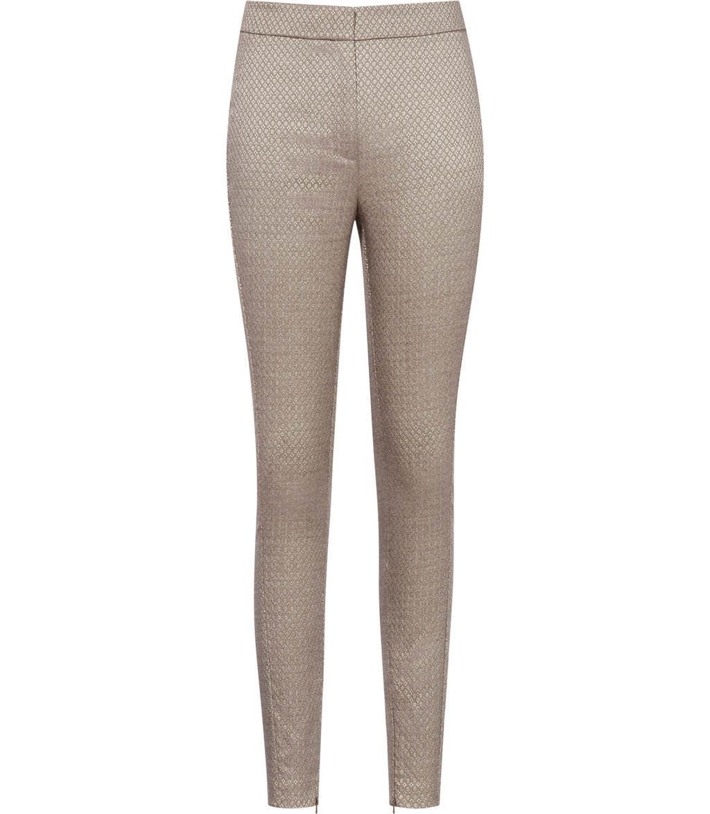 Darleen Womens Jacquard Trousers In Grey - length: standard; pattern: plain; waist: mid/regular rise; predominant colour: taupe; fibres: polyester/polyamide - mix; waist detail: narrow waistband; fit: slim leg; pattern type: fabric; texture group: brocade/jacquard; style: standard; occasions: creative work; season: s/s 2016; wardrobe: basic