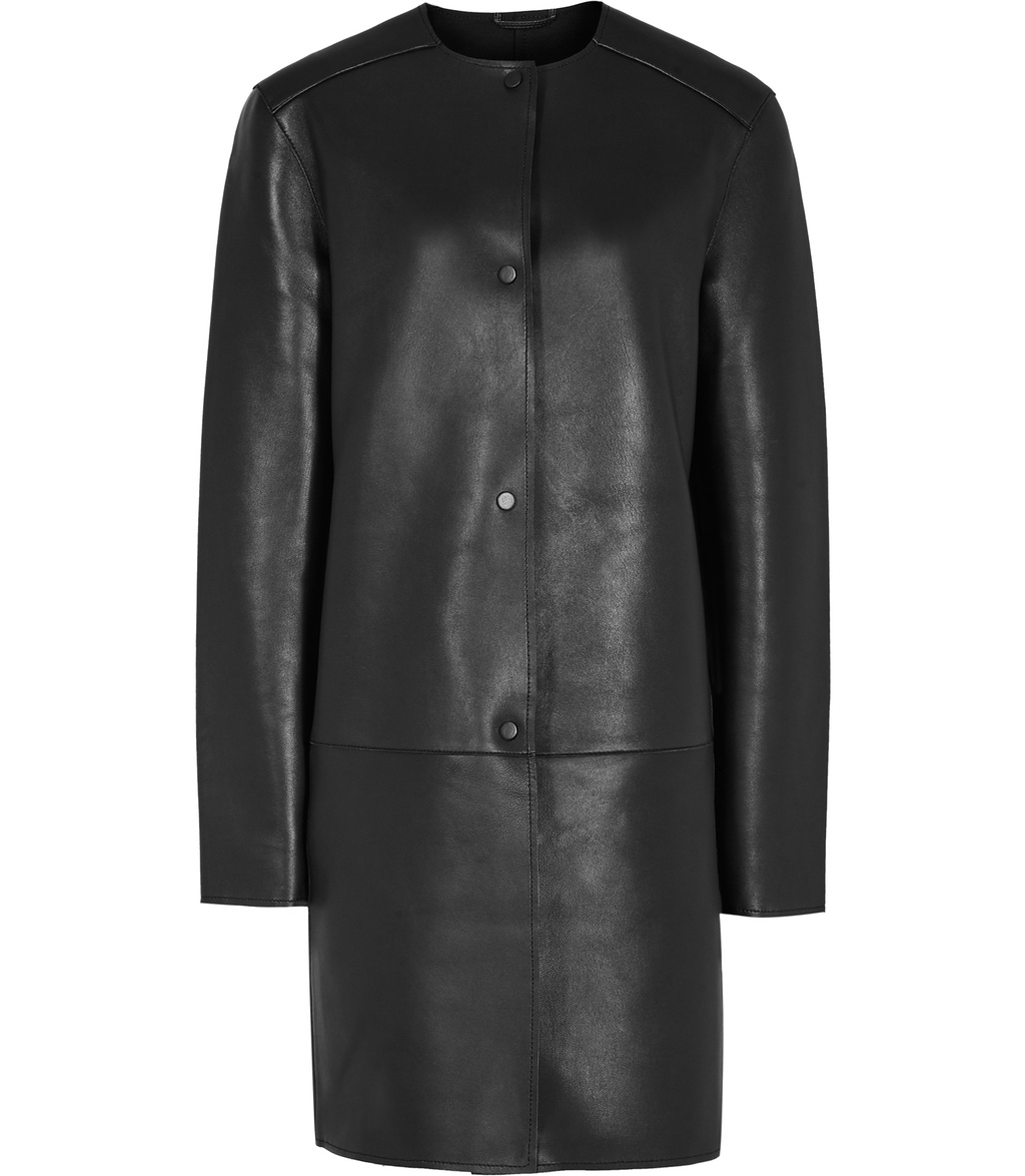 Andie Womens Bonded Leather Coat In Grey - pattern: plain; collar: round collar/collarless; style: single breasted; length: mid thigh; predominant colour: black; occasions: casual, creative work; fit: straight cut (boxy); fibres: leather - 100%; sleeve length: long sleeve; sleeve style: standard; texture group: leather; collar break: high; pattern type: fabric; season: s/s 2016; wardrobe: highlight