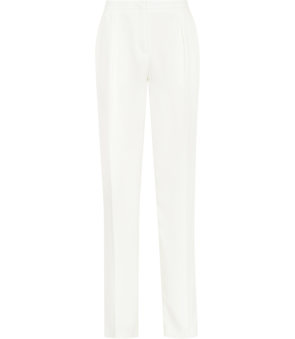 Cassie Womens Fluid Tailored Trousers In Grey - length: standard; pattern: plain; waist: high rise; pocket detail: pockets at the sides; predominant colour: white; fibres: polyester/polyamide - 100%; occasions: occasion, creative work; fit: straight leg; pattern type: fabric; texture group: woven light midweight; style: standard; season: s/s 2016; wardrobe: basic