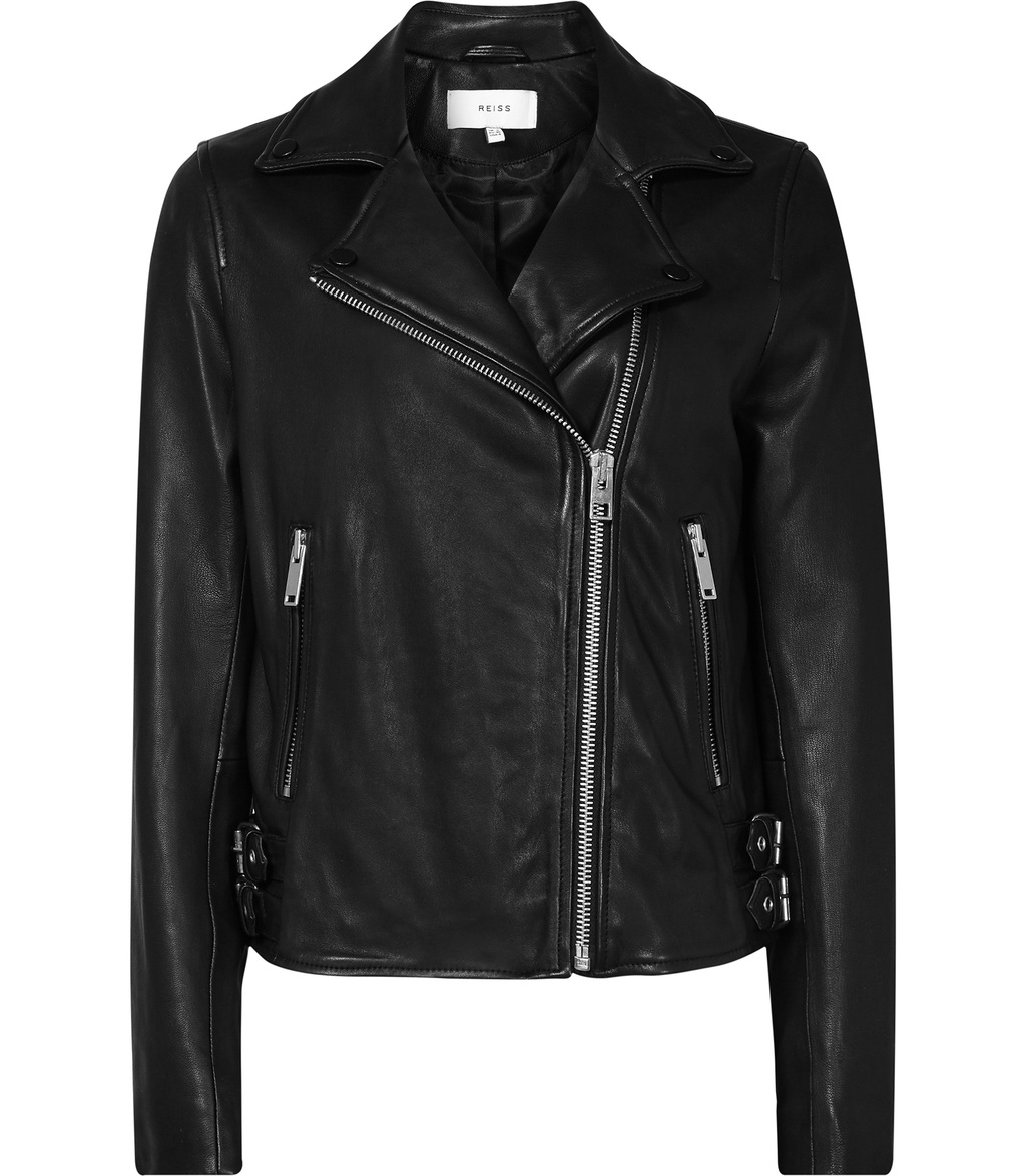 Caden Womens Leather Biker Jacket In Black - pattern: plain; style: biker; collar: asymmetric biker; fit: slim fit; predominant colour: black; occasions: casual; length: standard; fibres: leather - 100%; sleeve length: long sleeve; sleeve style: standard; texture group: leather; collar break: medium; pattern type: fabric; season: s/s 2016; wardrobe: basic