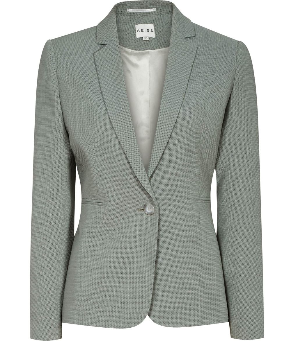 Camila Jacket Womens Textured Blazer In Green - pattern: plain; style: single breasted blazer; collar: standard lapel/rever collar; predominant colour: bronze; occasions: work; length: standard; fit: tailored/fitted; fibres: wool - 100%; sleeve length: long sleeve; sleeve style: standard; collar break: medium; pattern type: fabric; texture group: woven light midweight; season: s/s 2016; wardrobe: investment