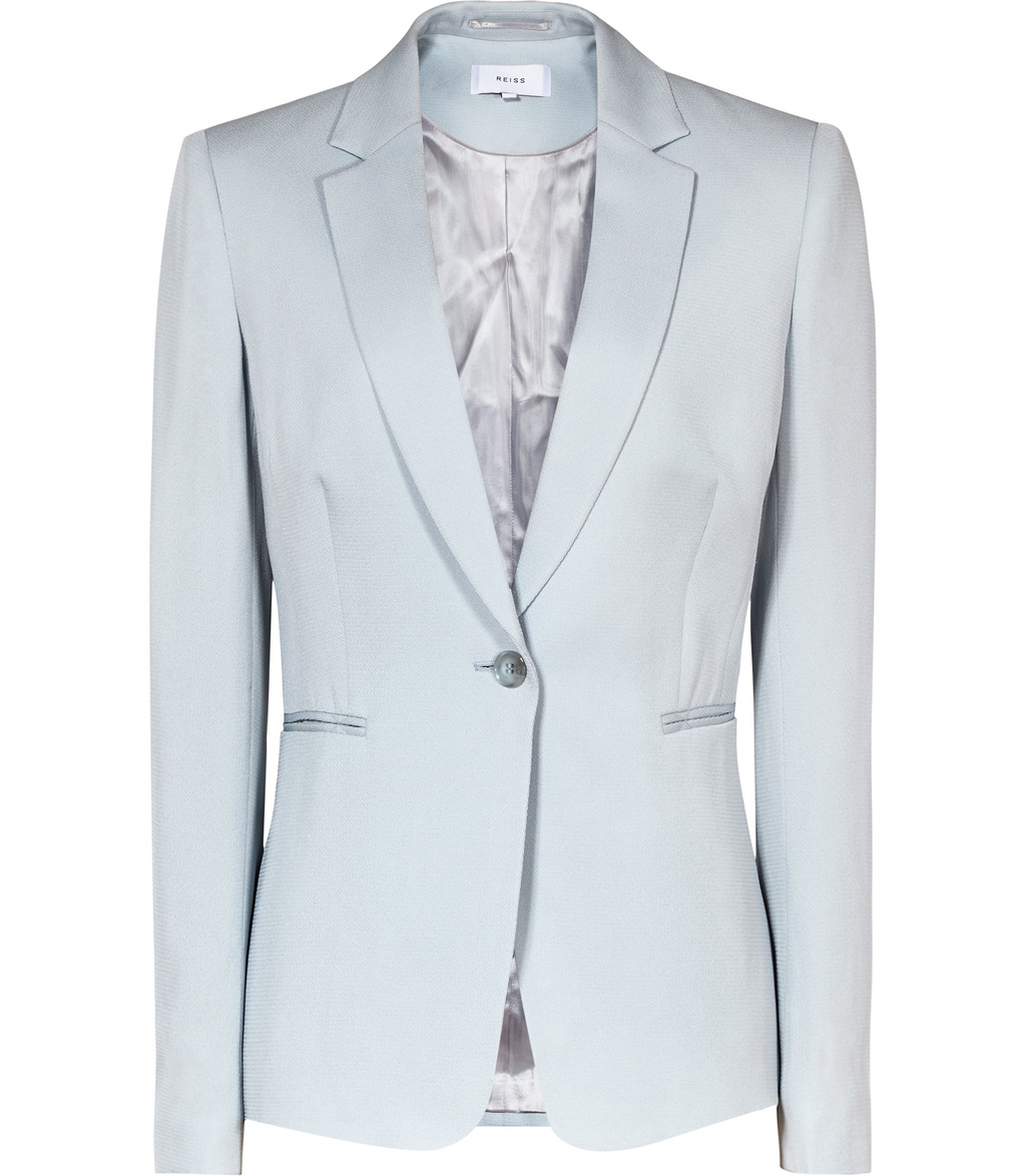 Reale Jacket Womens Single Breasted Blazer In Blue - pattern: plain; style: single breasted blazer; collar: standard lapel/rever collar; predominant colour: pale blue; occasions: work; length: standard; fit: tailored/fitted; fibres: viscose/rayon - 100%; sleeve length: long sleeve; sleeve style: standard; texture group: cotton feel fabrics; collar break: medium; pattern type: fabric; season: s/s 2016; wardrobe: investment