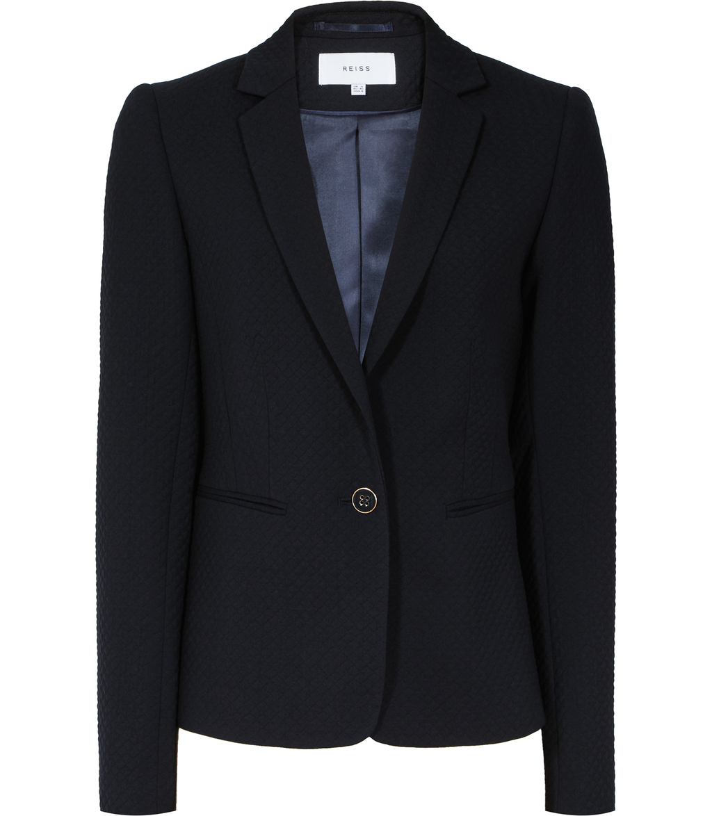 Issak Womens Textured Blazer In Blue - pattern: plain; style: single breasted blazer; collar: standard lapel/rever collar; predominant colour: navy; occasions: work; length: standard; fit: tailored/fitted; fibres: wool - stretch; sleeve length: long sleeve; sleeve style: standard; texture group: cotton feel fabrics; collar break: medium; pattern type: fabric; season: s/s 2016; wardrobe: investment