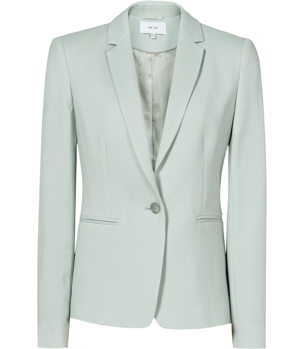 Greece Jacket Womens Single Breasted Blazer In Blue - pattern: plain; style: single breasted blazer; collar: standard lapel/rever collar; predominant colour: pale blue; occasions: work; length: standard; fit: tailored/fitted; fibres: viscose/rayon - stretch; sleeve length: long sleeve; sleeve style: standard; collar break: medium; pattern type: fabric; texture group: woven light midweight; season: s/s 2016