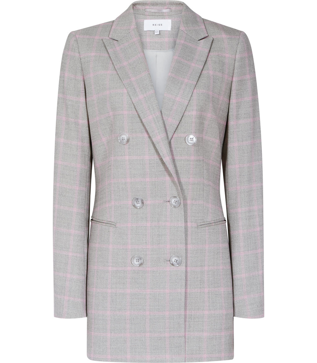 Marina Jacket Womens Double Breasted Blazer In Pink - pattern: checked/gingham; length: below the bottom; collar: standard lapel/rever collar; predominant colour: light grey; occasions: work; fit: tailored/fitted; fibres: wool - mix; style: double breasted tuxedo; sleeve length: long sleeve; sleeve style: standard; collar break: medium; pattern type: fabric; pattern size: standard; texture group: woven light midweight; season: s/s 2016; wardrobe: investment