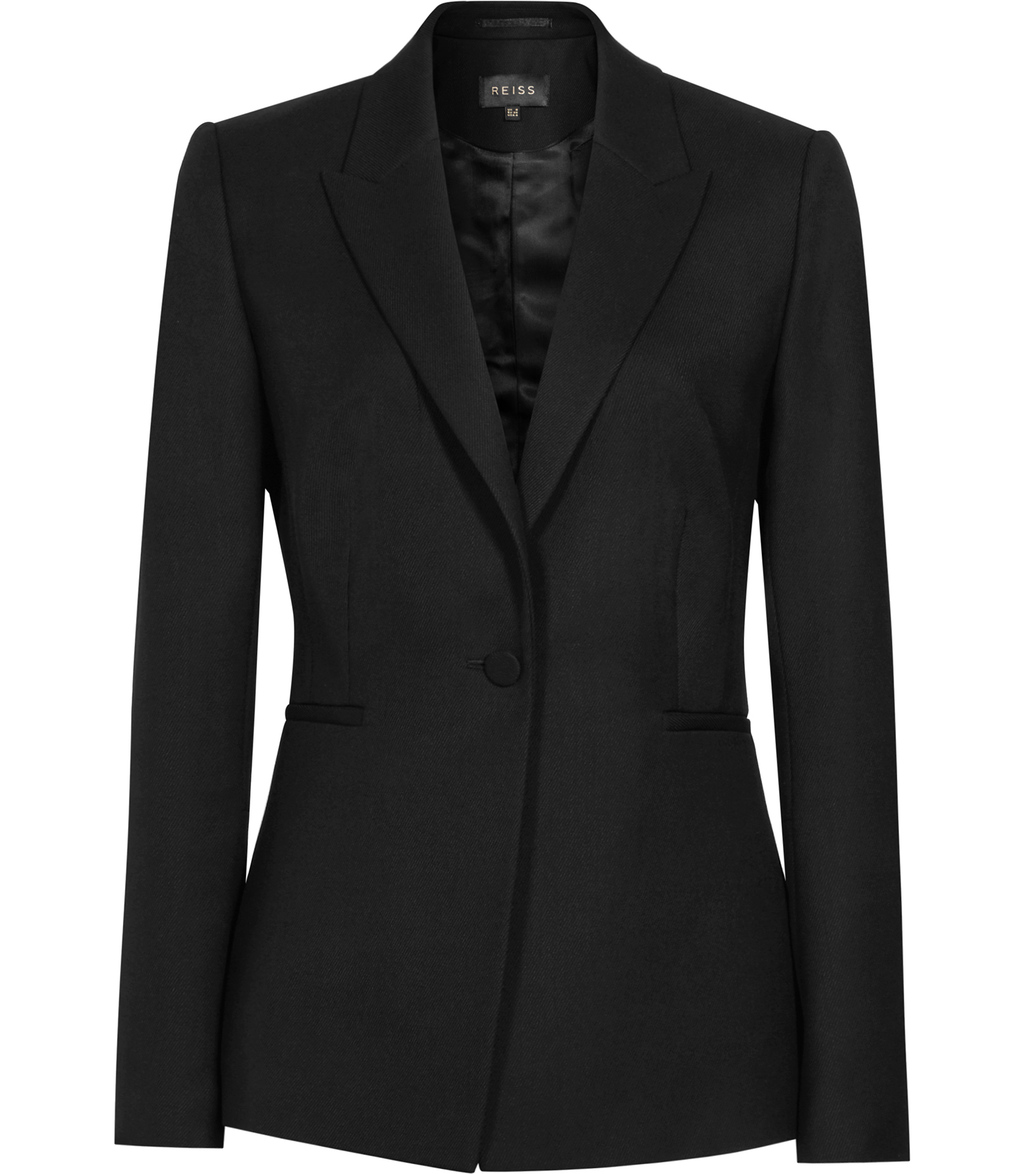 Moss Womens Textured Blazer In Black - pattern: plain; style: single breasted blazer; collar: standard lapel/rever collar; predominant colour: black; occasions: work; length: standard; fit: tailored/fitted; fibres: wool - 100%; sleeve length: long sleeve; sleeve style: standard; collar break: medium; pattern type: fabric; texture group: woven light midweight; season: s/s 2016; wardrobe: investment