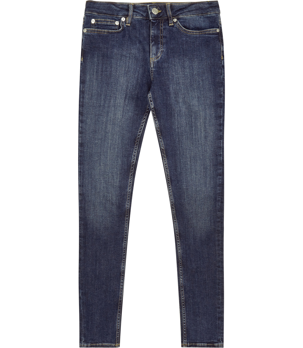 Stevie Womens Low Rise Skinny Jeans In Blue - style: skinny leg; length: standard; pattern: plain; waist: low rise; predominant colour: navy; occasions: casual; fibres: cotton - stretch; jeans detail: shading down centre of thigh; texture group: denim; pattern type: fabric; season: s/s 2016