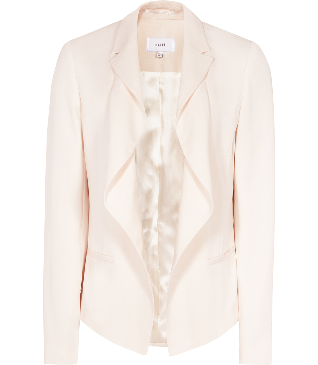 Sienna Womens Drape Front Jacket In Ballet Pink - pattern: plain; style: single breasted blazer; collar: shawl/waterfall; predominant colour: ivory/cream; occasions: evening, occasion; length: standard; fit: tailored/fitted; fibres: polyester/polyamide - 100%; sleeve length: long sleeve; sleeve style: standard; collar break: low/open; pattern type: fabric; texture group: woven light midweight; season: s/s 2016