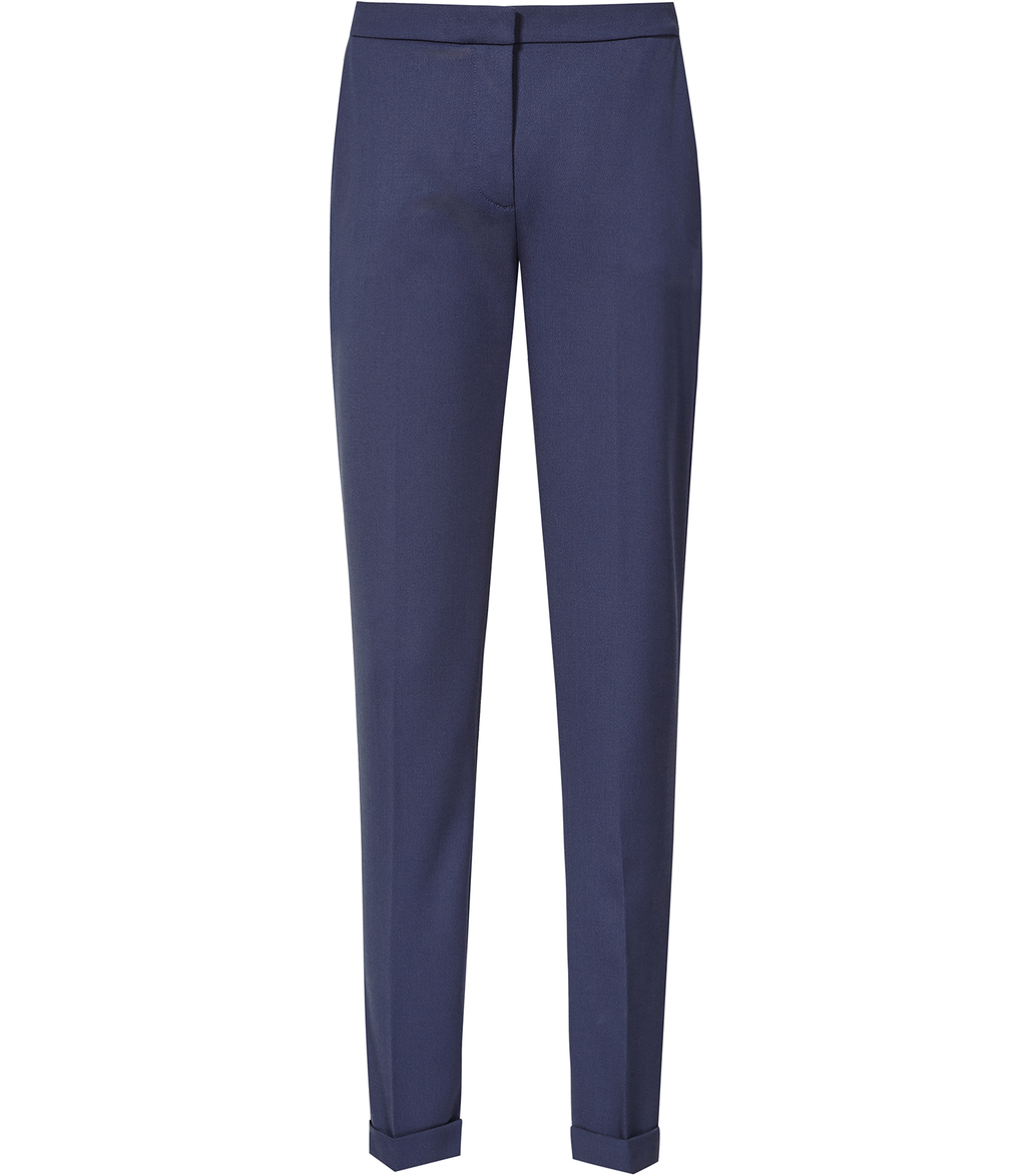 Barratt Womens Straight Leg Trousers In Blue - length: standard; pattern: plain; waist: mid/regular rise; predominant colour: navy; fibres: polyester/polyamide - 100%; texture group: crepes; fit: straight leg; pattern type: fabric; style: standard; occasions: creative work; season: s/s 2016; wardrobe: basic