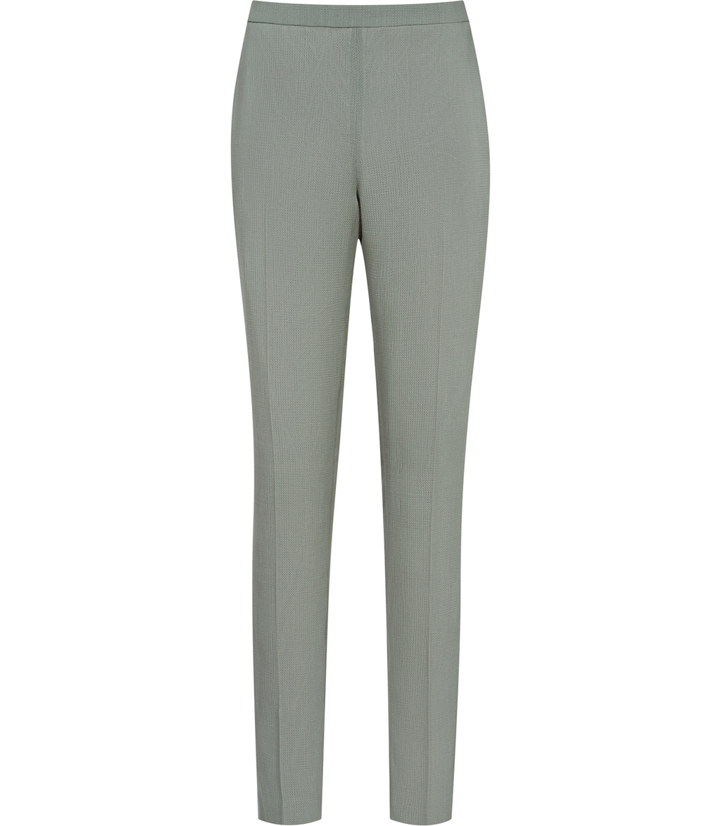 Camila Trouser Womens Textured Tailored Trousers In Green - length: standard; pattern: plain; waist: mid/regular rise; predominant colour: pistachio; fibres: polyester/polyamide - 100%; waist detail: narrow waistband; texture group: cotton feel fabrics; fit: straight leg; pattern type: fabric; style: standard; occasions: creative work; season: s/s 2016