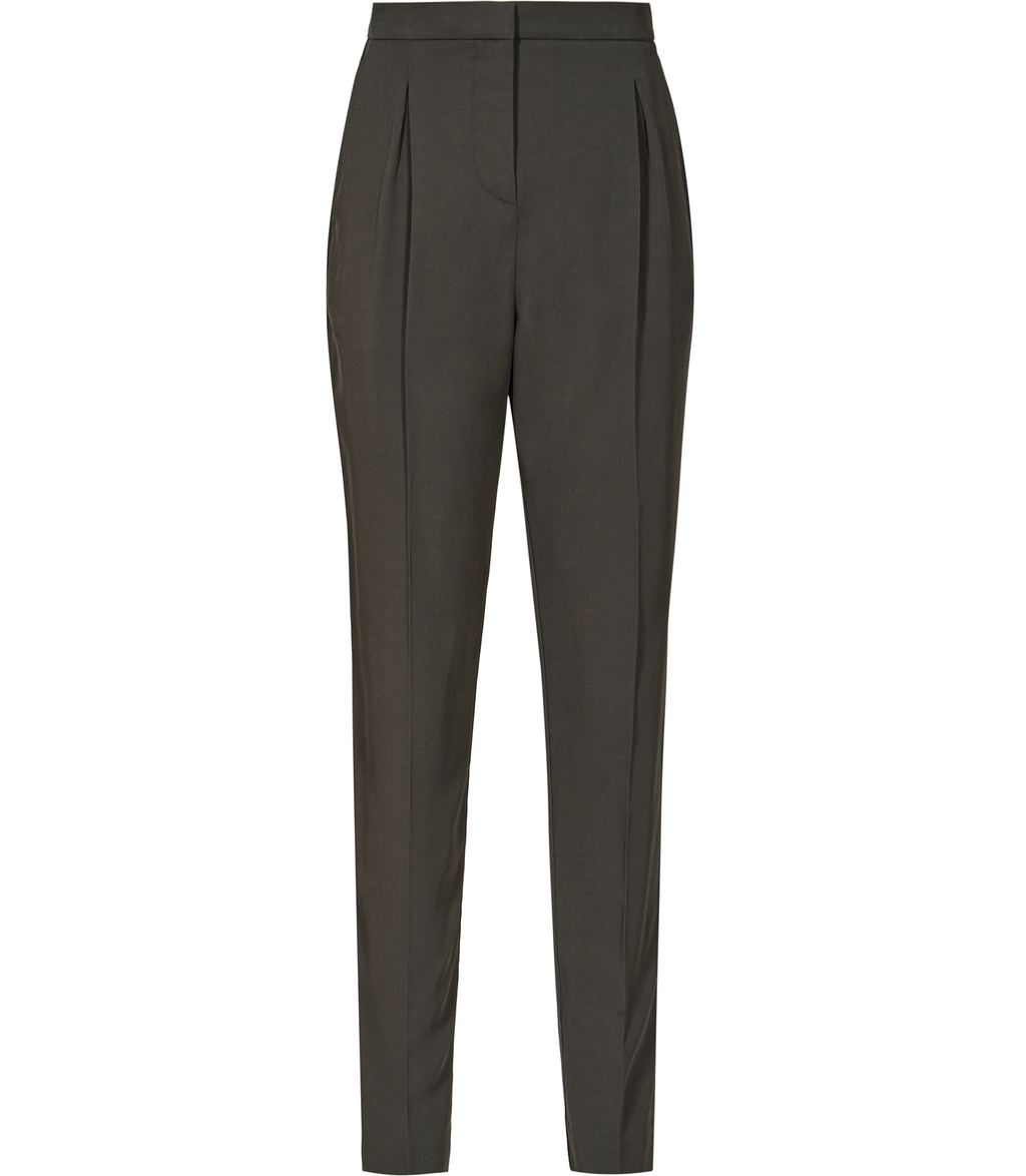 Diego Trouser Womens Tapered Tailored Trousers In Green - length: standard; pattern: plain; style: peg leg; waist: high rise; predominant colour: khaki; occasions: work, creative work; fibres: viscose/rayon - stretch; fit: tapered; pattern type: fabric; texture group: woven light midweight; season: s/s 2016; wardrobe: basic