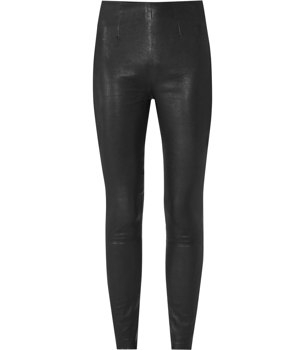 Patti Womens Leather Leggings In Black - pattern: plain; style: leggings; waist: mid/regular rise; predominant colour: black; occasions: evening; length: ankle length; fibres: leather - 100%; texture group: leather; fit: skinny/tight leg; pattern type: fabric; season: s/s 2016