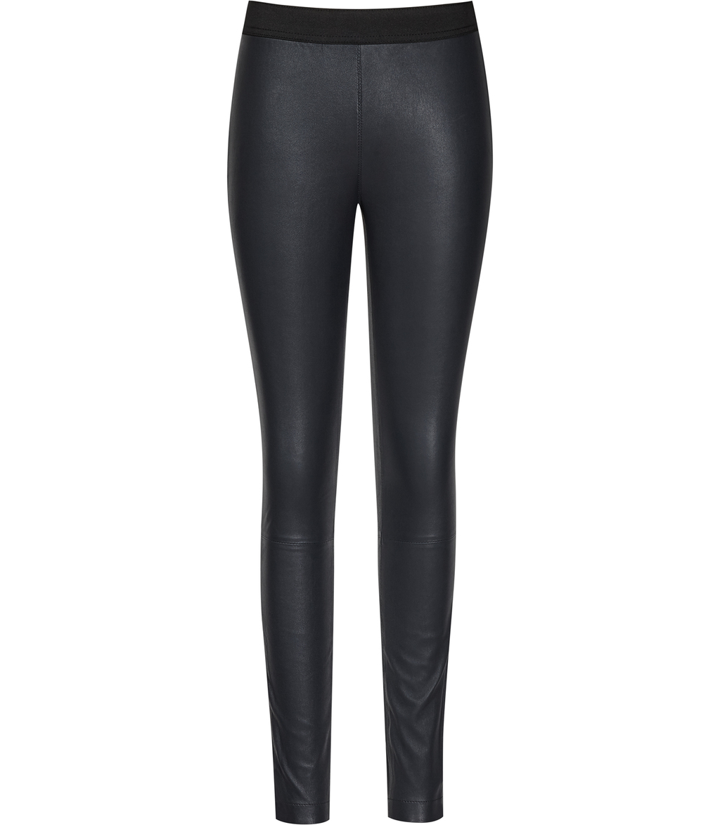 Carrie Womens Leather Leggings In Blue - pattern: plain; style: leggings; waist detail: elasticated waist; waist: mid/regular rise; predominant colour: black; occasions: evening; length: ankle length; fibres: leather - 100%; texture group: leather; fit: skinny/tight leg; pattern type: fabric; season: s/s 2016; wardrobe: event