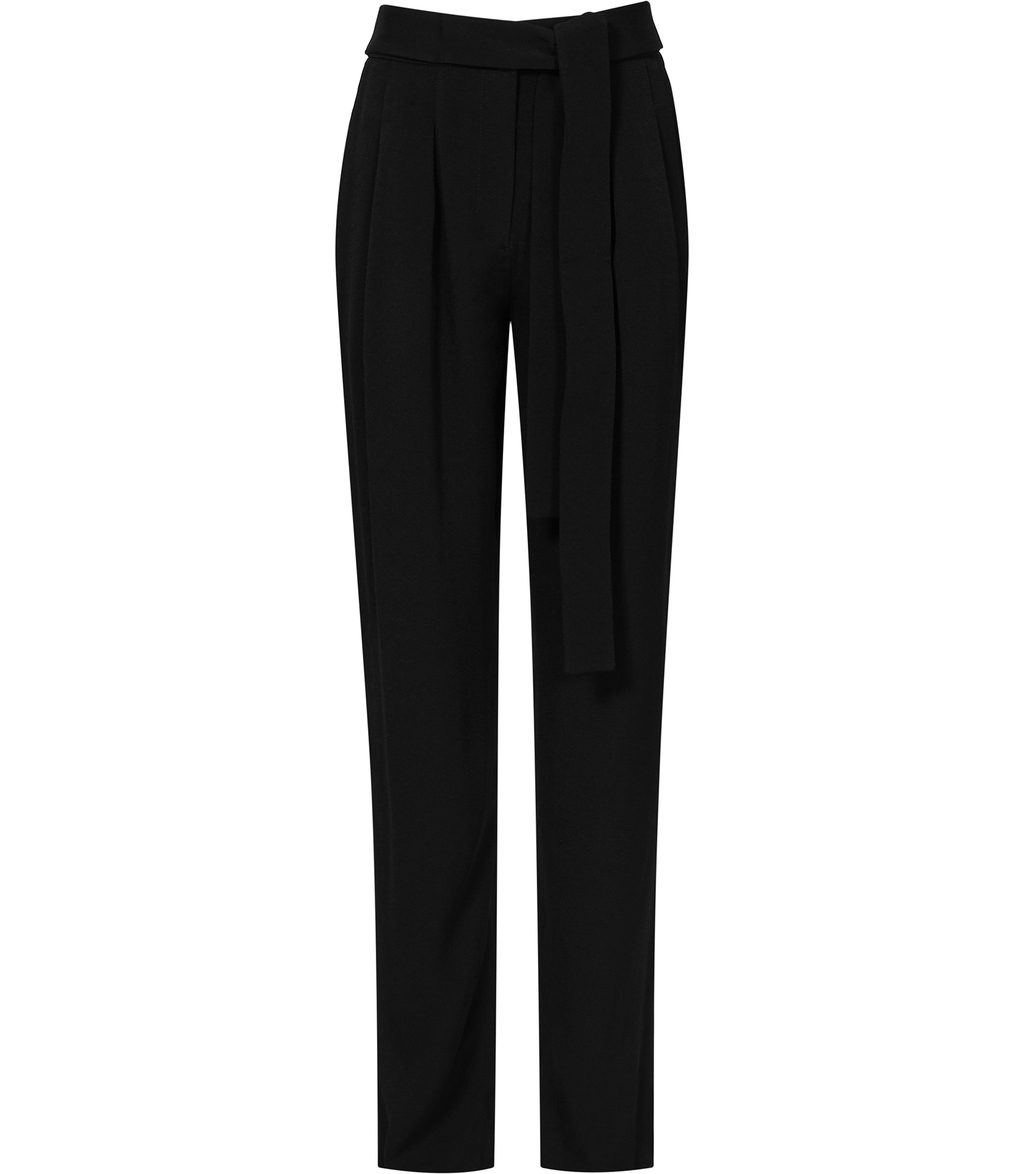 Promise Womens Relaxed Trousers In Black - length: standard; pattern: plain; style: peg leg; waist: high rise; waist detail: belted waist/tie at waist/drawstring; predominant colour: black; occasions: work; fibres: polyester/polyamide - 100%; texture group: crepes; fit: tapered; pattern type: fabric; season: s/s 2016