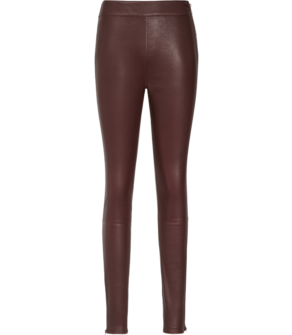 Selina Womens Leather Leggings In Red - length: standard; pattern: plain; waist: mid/regular rise; predominant colour: burgundy; occasions: casual, evening; fibres: leather - 100%; waist detail: narrow waistband; texture group: leather; fit: skinny/tight leg; pattern type: fabric; style: standard; season: s/s 2016; wardrobe: highlight