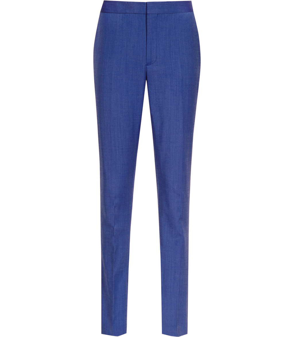Arlo Trouser Womens Slim Leg Trousers In Blue - length: standard; pattern: plain; waist: mid/regular rise; predominant colour: royal blue; fibres: polyester/polyamide - 100%; waist detail: feature waist detail; fit: slim leg; pattern type: fabric; texture group: woven light midweight; style: standard; occasions: creative work; season: s/s 2016; wardrobe: highlight