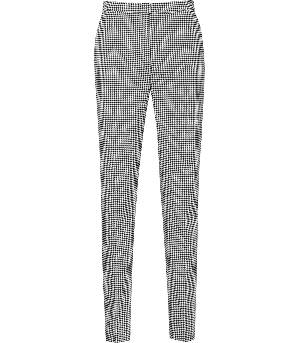 Linear Trouser Womens Checked Trousers In White - length: standard; pattern: checked/gingham; waist: mid/regular rise; secondary colour: white; predominant colour: black; fibres: cotton - mix; waist detail: narrow waistband; trends: monochrome; texture group: cotton feel fabrics; fit: slim leg; pattern type: fabric; style: standard; occasions: creative work; season: s/s 2016