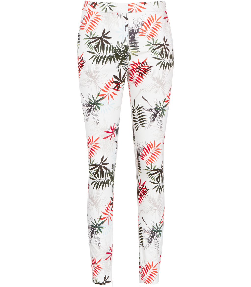 Selena Trouser Womens Printed Trousers In White - length: standard; waist: mid/regular rise; predominant colour: white; secondary colour: bright orange; occasions: casual, creative work; fibres: cotton - stretch; fit: slim leg; pattern type: fabric; pattern: patterned/print; texture group: woven light midweight; style: standard; season: s/s 2016; wardrobe: highlight