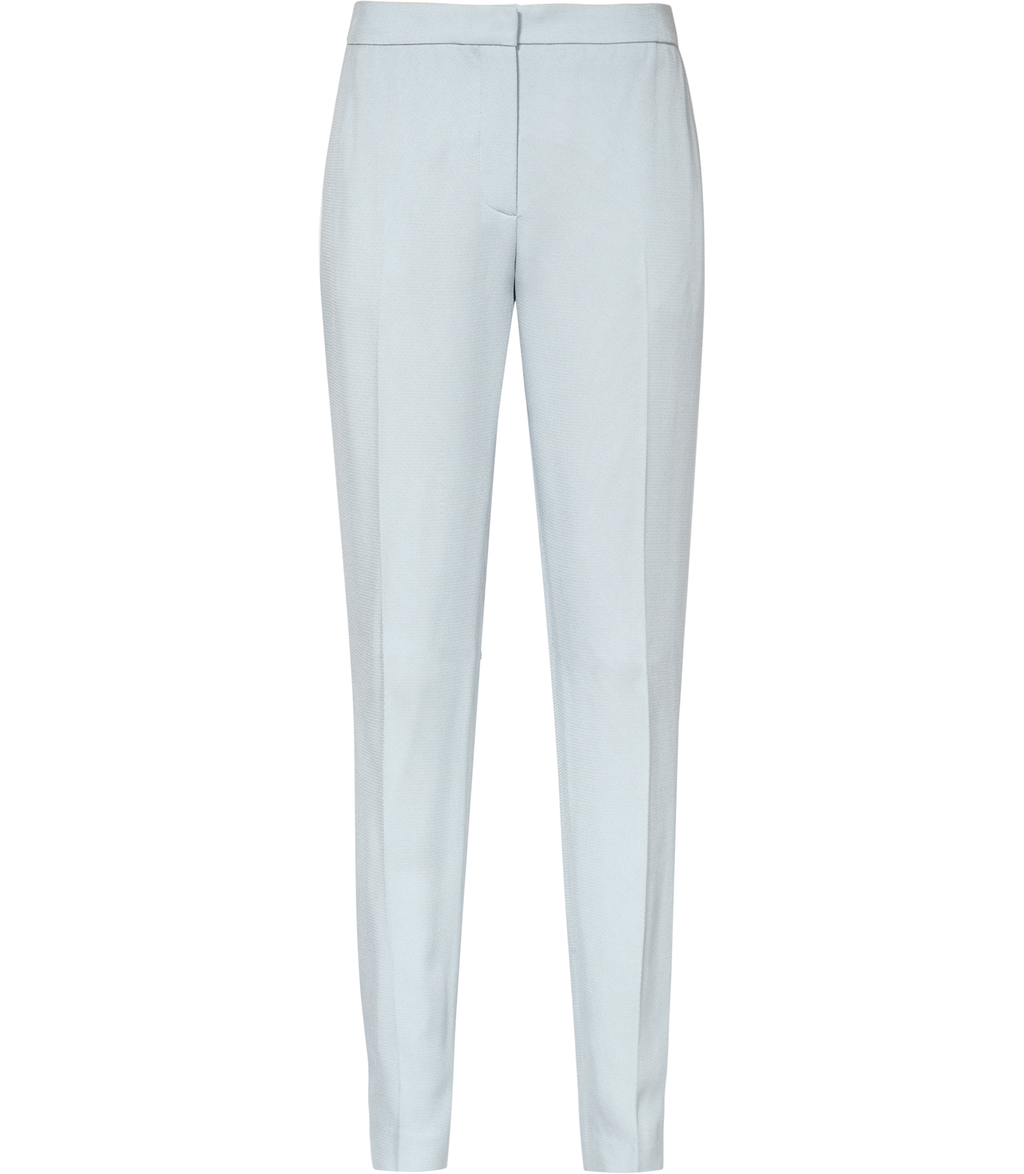 Reale Trouser Womens Relaxed Tailored Tousers In Blue - pattern: plain; waist: mid/regular rise; predominant colour: pale blue; occasions: work, creative work; length: ankle length; fibres: cotton - stretch; fit: slim leg; pattern type: fabric; texture group: woven light midweight; style: standard; season: s/s 2016; wardrobe: highlight