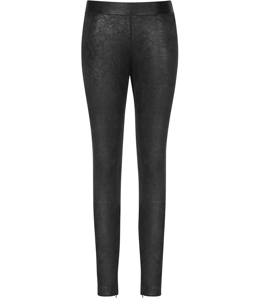Freya Womens Stretch Leather Leggings In Black - length: standard; pattern: plain; style: leggings; waist: mid/regular rise; predominant colour: black; occasions: evening; fibres: leather - 100%; texture group: leather; fit: skinny/tight leg; pattern type: fabric; season: s/s 2016; wardrobe: event