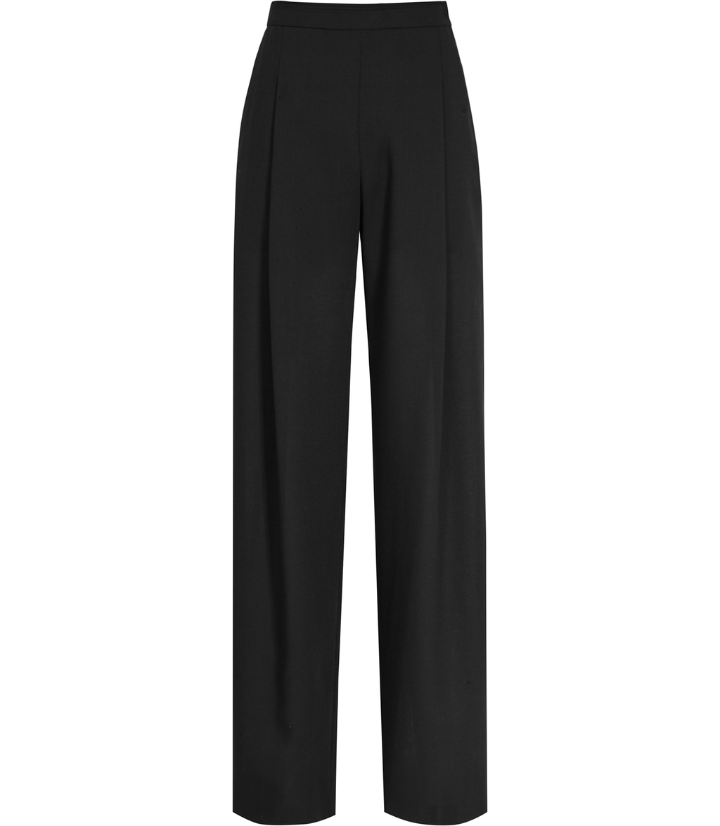 Modena Womens Semi Sheer Wide Leg Trousers In Black - length: standard; pattern: plain; style: palazzo; waist: high rise; predominant colour: black; occasions: evening; fibres: polyester/polyamide - 100%; texture group: crepes; fit: wide leg; pattern type: fabric; season: s/s 2016; wardrobe: event