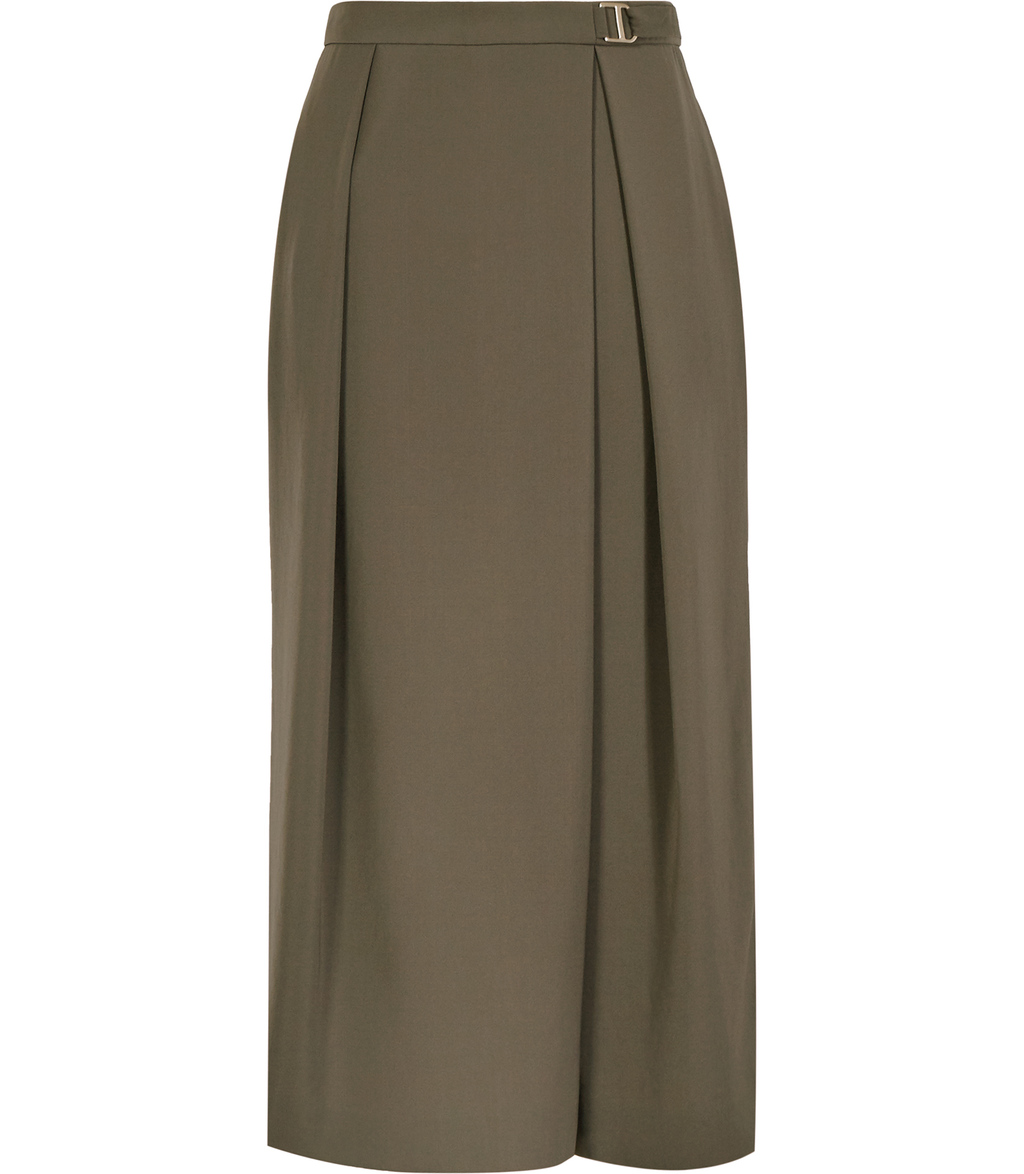 Settima Womens Wide Leg Culottes In Brown - pattern: plain; waist: mid/regular rise; predominant colour: khaki; occasions: casual; length: calf length; fibres: polyester/polyamide - 100%; fit: wide leg; pattern type: fabric; texture group: woven light midweight; style: standard; season: s/s 2016; wardrobe: basic