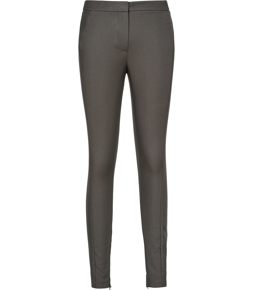 Darla Womens Skinny Tailored Trousers In Brown - length: standard; pattern: plain; waist: mid/regular rise; predominant colour: charcoal; occasions: work, creative work; fibres: cotton - stretch; fit: slim leg; pattern type: fabric; texture group: woven light midweight; style: standard; season: s/s 2016; wardrobe: basic