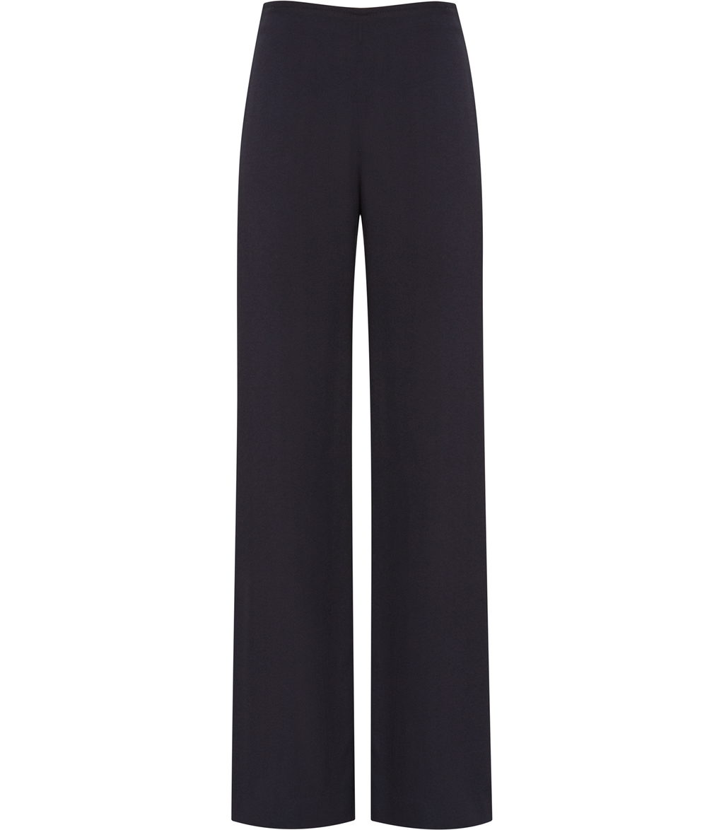 Becci Womens Wide Leg Trousers In Blue - length: standard; pattern: plain; style: palazzo; waist: high rise; predominant colour: navy; occasions: work; fibres: polyester/polyamide - 100%; texture group: crepes; fit: wide leg; pattern type: fabric; season: s/s 2016