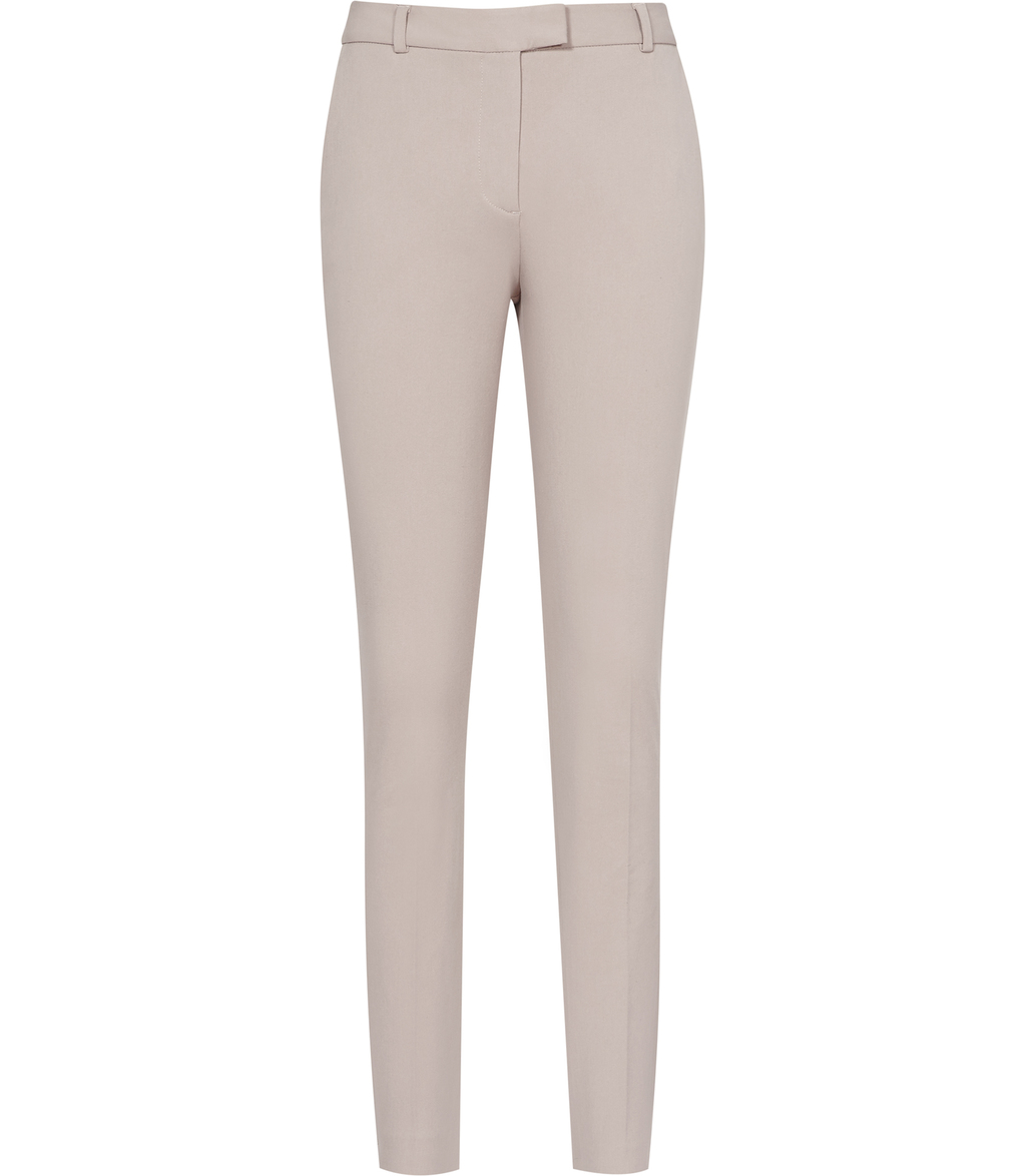 Joanne Womens Cropped Tailored Trousers In Brown - length: standard; pattern: plain; waist: high rise; predominant colour: blush; occasions: casual, creative work; fibres: cotton - stretch; fit: slim leg; pattern type: fabric; texture group: woven light midweight; style: standard; season: s/s 2016; wardrobe: basic