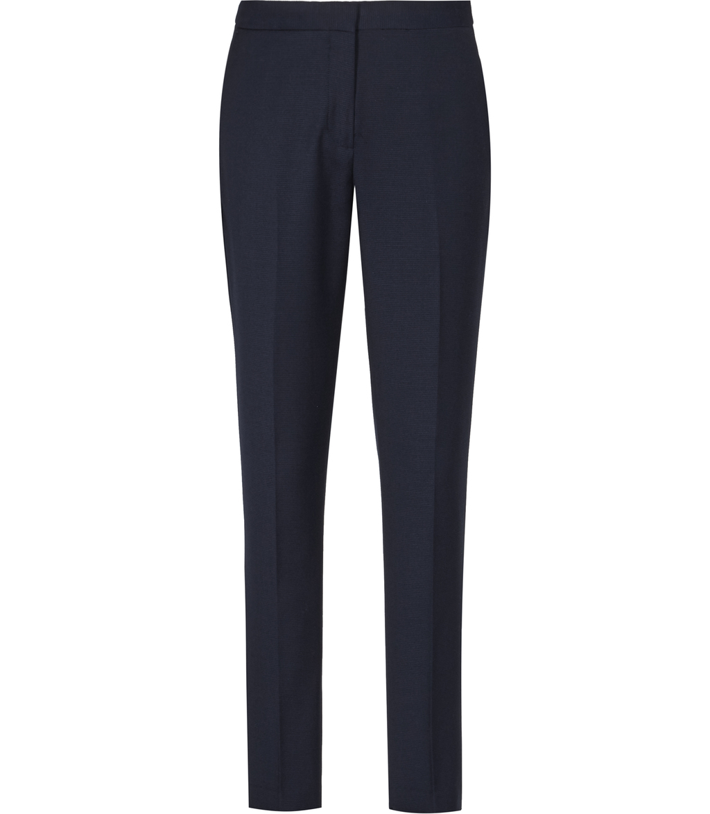 Indi Trouser Womens Textured Tailored Trousers In Blue - length: standard; pattern: plain; waist: mid/regular rise; predominant colour: navy; occasions: work, creative work; fibres: wool - stretch; fit: straight leg; pattern type: fabric; texture group: woven light midweight; style: standard; season: s/s 2016; wardrobe: basic