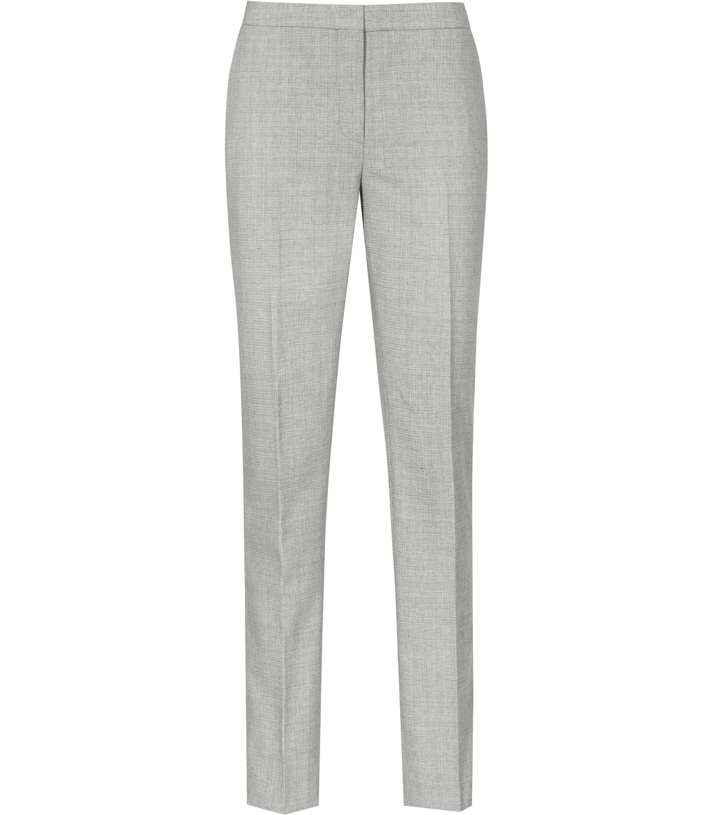 Aleggra Trouser Womens Tailored Trousers In Grey - length: standard; pattern: plain; waist: mid/regular rise; predominant colour: light grey; occasions: work, creative work; fibres: wool - mix; waist detail: narrow waistband; fit: straight leg; pattern type: fabric; texture group: woven light midweight; style: standard; season: s/s 2016; wardrobe: basic