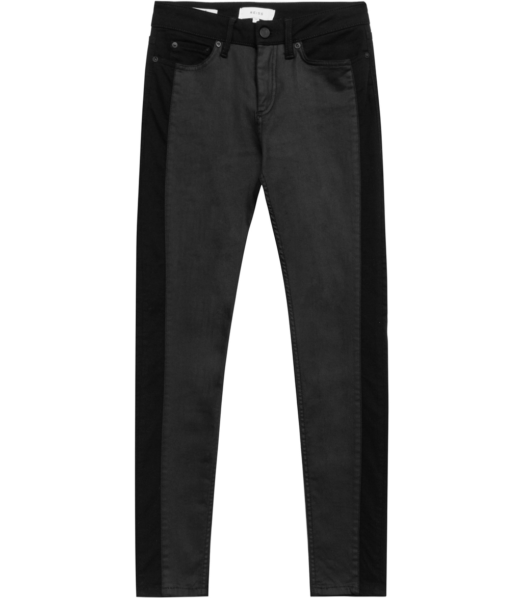 Stevie Panelled Womens Panelled Skinny Jeans In Black - style: skinny leg; length: standard; pattern: plain; pocket detail: traditional 5 pocket; waist: mid/regular rise; predominant colour: black; occasions: casual; fibres: cotton - stretch; texture group: denim; pattern type: fabric; season: s/s 2016; wardrobe: basic