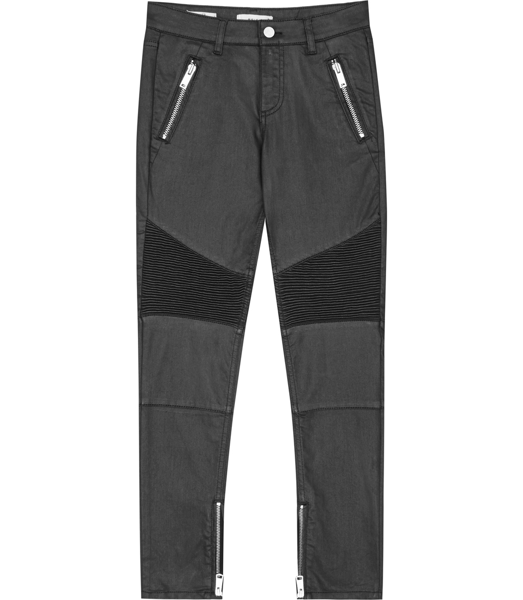 Biker Coated Womens Coated Biker Jeans In Grey - style: skinny leg; length: standard; pattern: plain; waist: mid/regular rise; predominant colour: charcoal; occasions: casual; fibres: cotton - stretch; texture group: denim; pattern type: fabric; season: s/s 2016; wardrobe: highlight