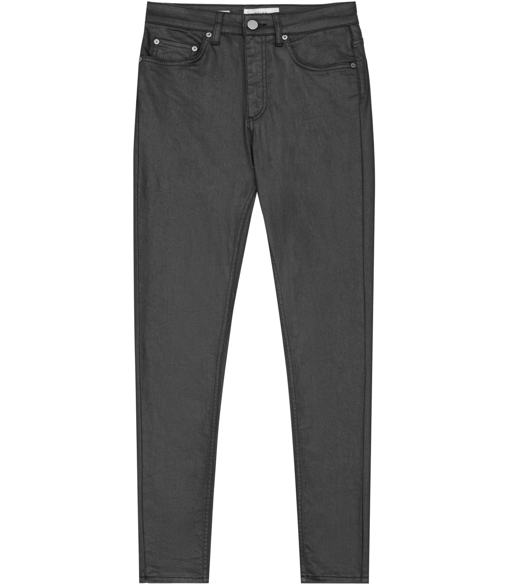 Helvin Coated Womens Coated Skinny Jeans In Grey - style: skinny leg; length: standard; pattern: plain; pocket detail: traditional 5 pocket; waist: mid/regular rise; predominant colour: charcoal; occasions: casual; fibres: cotton - stretch; texture group: waxed cotton; pattern type: fabric; season: s/s 2016; wardrobe: highlight