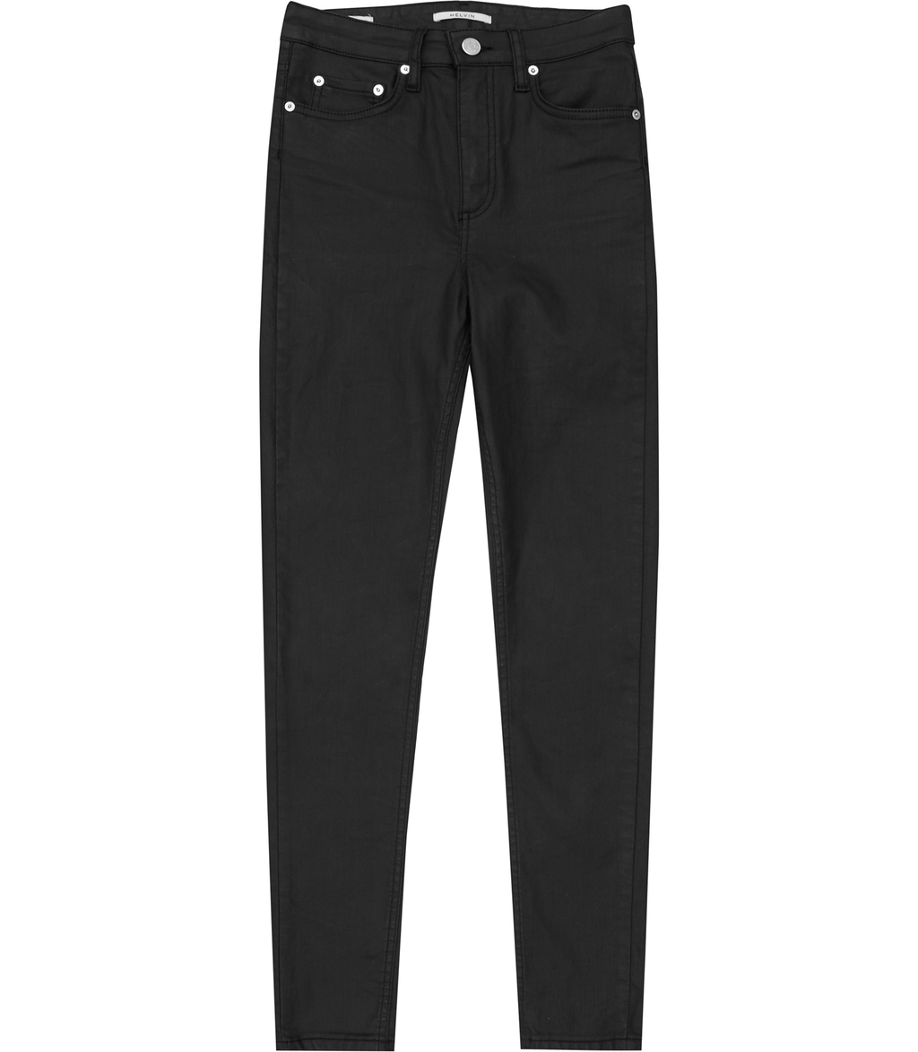 Helvin Coated Womens High Rise Skinny Jeans In Black - style: skinny leg; length: standard; pattern: plain; pocket detail: traditional 5 pocket; waist: mid/regular rise; predominant colour: black; occasions: casual; fibres: cotton - stretch; texture group: denim; pattern type: fabric; season: s/s 2016
