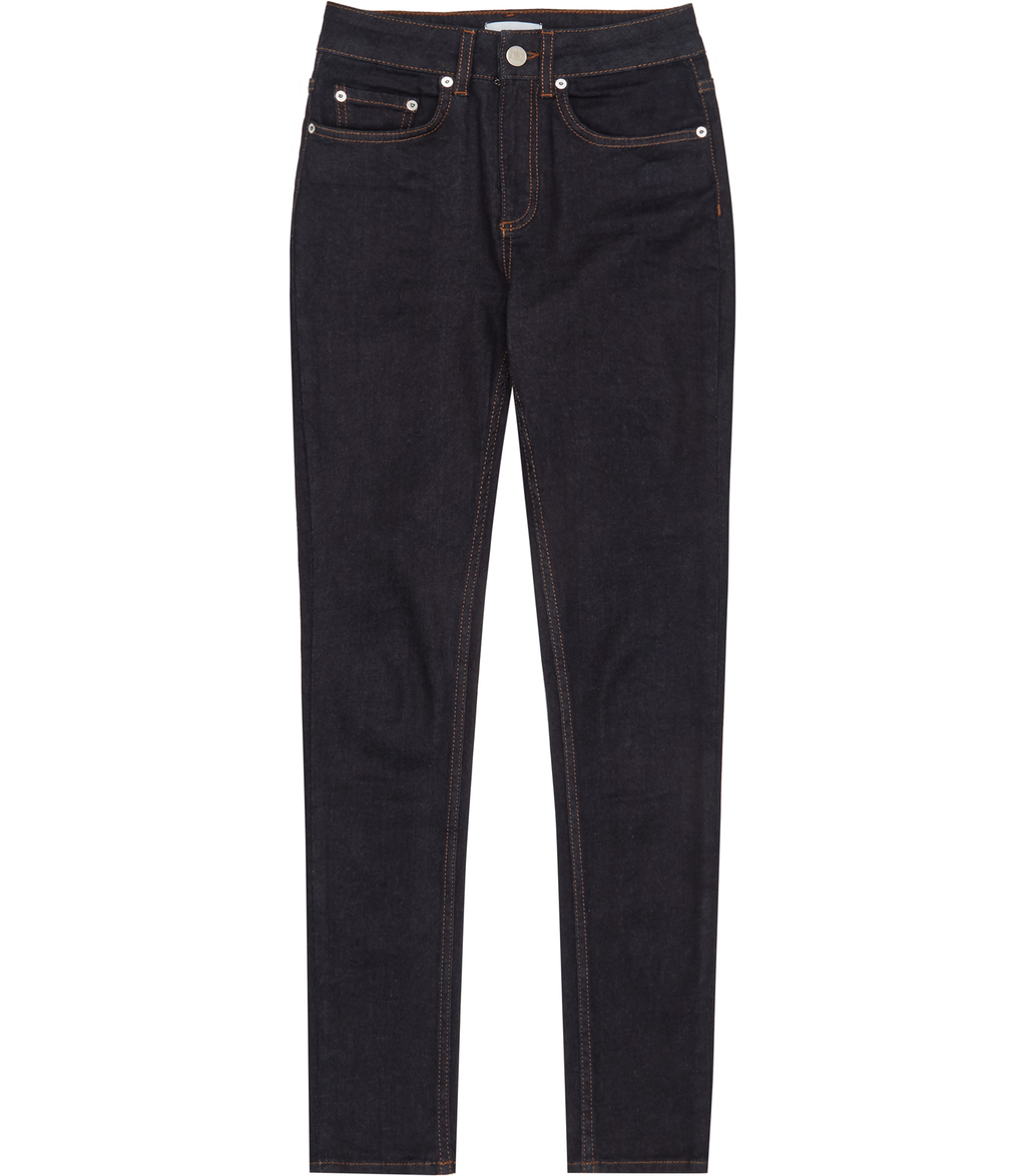 Helvin Womens High Rise Skinny Jeans In Blue - style: skinny leg; length: standard; pattern: plain; waist: high rise; pocket detail: traditional 5 pocket; predominant colour: navy; occasions: casual; fibres: cotton - stretch; texture group: denim; pattern type: fabric; season: s/s 2016; wardrobe: basic