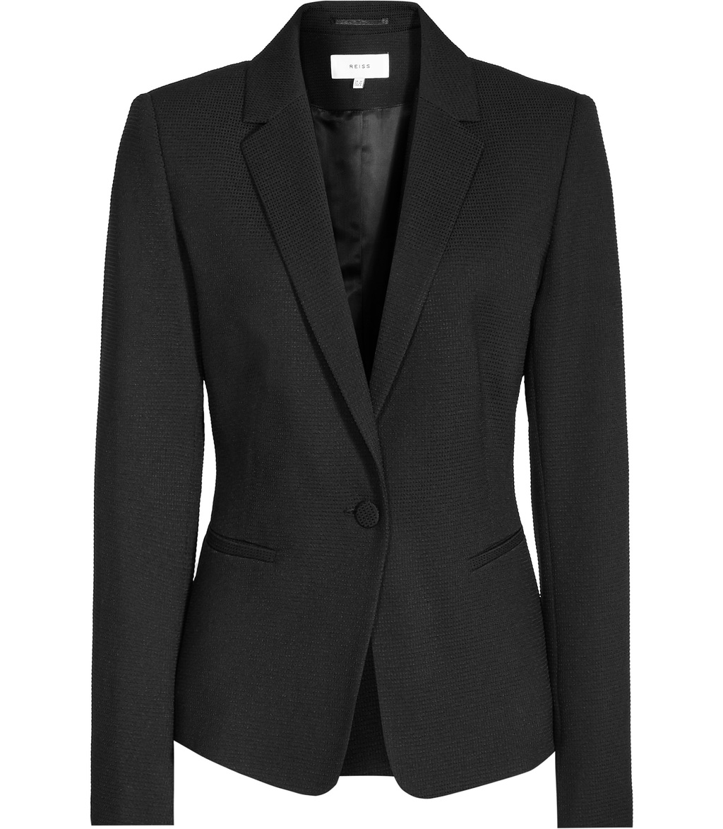 Hanneli Womens Ruffle Back Jacket In Black - pattern: plain; style: single breasted blazer; collar: standard lapel/rever collar; predominant colour: black; occasions: work; length: standard; fit: tailored/fitted; fibres: polyester/polyamide - stretch; sleeve length: long sleeve; sleeve style: standard; collar break: medium; pattern type: fabric; texture group: woven light midweight; season: s/s 2016; wardrobe: investment